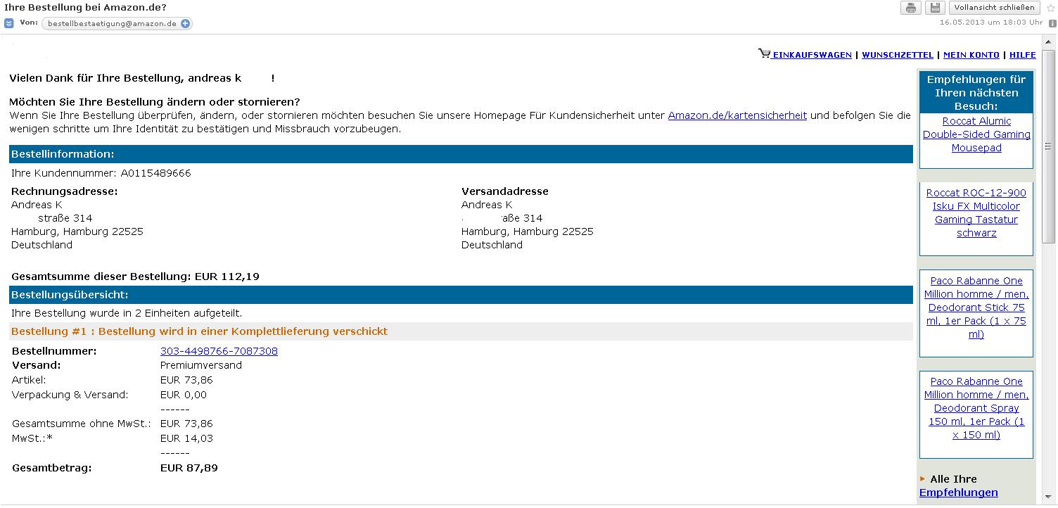 phishing falsche bestellbestaetigung von amazon. Black Bedroom Furniture Sets. Home Design Ideas